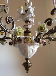 Kostenloser Versand Italienischen Capodimonte Porzellan Blumen Vintage Verzierten Bronze Kronleuchter 6 Leuchten