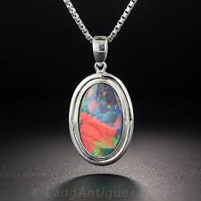 gem black opal and platinum pendant previous to enlarge photo
