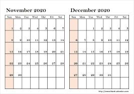 Print November December 2020 Calendar With Notes 2 Month