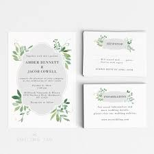 Rsvp Card Sizes Wedding Invitation Printable Set Watercolor Botanical