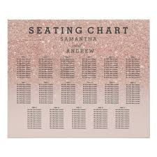 Rose Gold Faux Glitter Pink Ombre Seating Chart 17