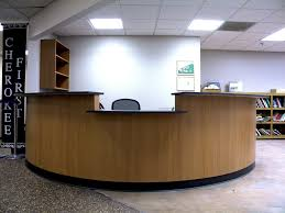 Office:Small Space In Round Desk With Partition Idea Eliptical Reception  Desk With Wooden Furniture