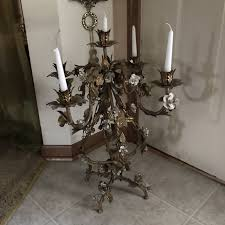 pair of antique italian large iron and toleware table chandelier with five candle lights in excellent condition beautiful white roses and gold leaves