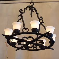 vintage iron chandelier with new glass shades