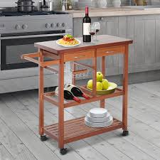 homcom wooden rolling storage microwave cart kitchen trolley with drawers 1