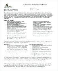 Quality Assurance Manager Job Description Quality Assurance
