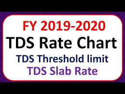 Tds Rate Chart For Ay 2019 20 Tds Rate Chart Fy 2019 2020 Ay 2020 2021 Youtube