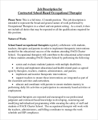 School Psychologist Job Description Sample Occupational Therapy Job Description 9 Examples In