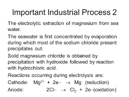 important process 2 the electrolytic extraction of magnesium from sea water