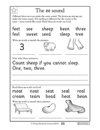 While i don't think they should be the primary form of instruction (since they don't. Vowel Sound Ee 1st Grade Kindergarten Reading Writing Worksheet Greatschools