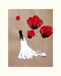 lady of the poppies painting abstract red black white woman surreal fantasy