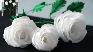How To Make Rose Flower With Tissue Paper Flowers Making How To Make Rose Tissue Paper Crepe Paper Flower Making Julia Diy