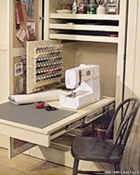 Sewing Room Storage Cabinets Sewing Room In A Closet Suits The Closet And Tables