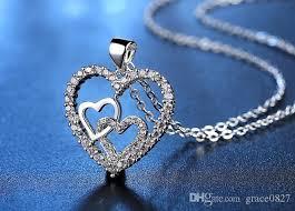 whole triple hearts zircon pendant statement crystal necklace fashion women girls lady swarovski elements wedding jewelry white gold necklace diamond