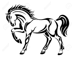 Horse Tattoo Stylized Graphic Vector Illustration Abstract Image