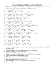 worksheet writing and balancing chemical reactions answer word equation to equations answers