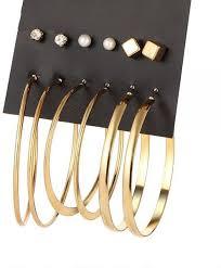 BESTPICKS <b>6 Pair/set Vintage</b> Gold Color Big Circle Hoop ...