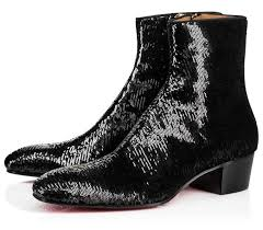 new famous red bottom boot men casual shoes black patent leather flat men chelsea ankle boots shiny leather sole dress party s4