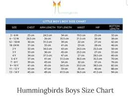 Studio Y Size Chart Hummingbirds Size Chart Studio By Tcs