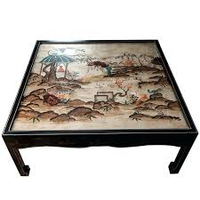 chinoiserie coffee table square cocktail table with painted scenes depicted on top for red chinoiserie coffee table baker chinoiserie coffee table