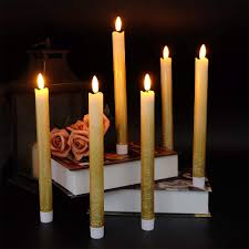 Battery Operated Window Lights Us 24 98 49 Off Eldnacele Set Of 6 Flameless Flickering Taper Candles Led Battery Operated Window Candles With 6 Hours Timer 3d Wick In Candles