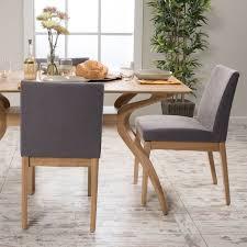 leona fabric wood finish dining chair set of 2