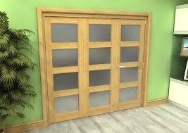 2156 x 2070 oak 4l unfinished internal folding door system with frosted glass