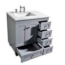 Eviva Acclaim C 28 Transitional Bathroom Vanity With White Carrera Marble Counter Top Luxe Bathroom Vanities
