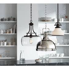 Industrial style pendant lighting Crystal Three Industrialstyle Pendant Lights In Clean Contemporary Kitchen Setting Lamps Plus Illuminating The Kitchen With Pendant Lighting Ideas Advice
