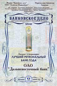 Награды и дипломы Диплом лауреата в номинации Лучший региональный банк года