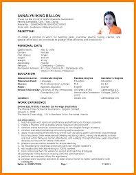 5 Example Of Filipino Resume Format Biodata Samples