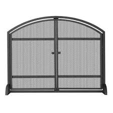 1 panel arch top black wrought iron fireplace screen with doors