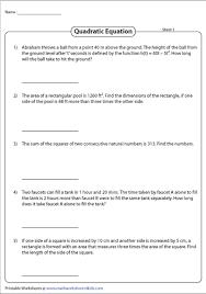 quadratic equation word problems worksheets