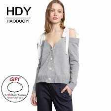 Haoduoyi Size Chart Hdy Haoduoyi Women Cardigans Long Sleeve Button Sweaters Strap Bow Off The Shoulder Sexy Knitted Tops Gray Casual Autumn Winter