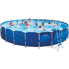 intex 24 x 52 metal frame above ground swimming pool with filter pump walmart