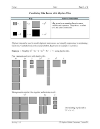 combining like terms with algebra tiles