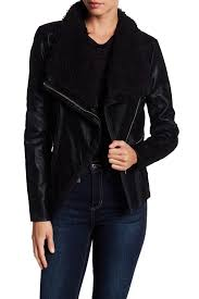 image of guess faux leather moto jacket with faux fur collar
