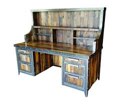 industrial reclaimed furniture. industrial reclaimed wood desk with hutch side view furniture l