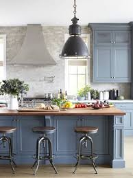 blue grey kitchen cabinets. Interesting Grey I Think This Kitchen Looks Blue And A Bit Nautical To Set The Cabinets  Island Apart Designers Painted Them Two Different Shades Farrow U0026 Ballu0027s  On Blue Grey Kitchen Cabinets L
