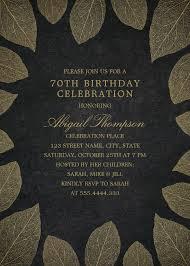 Gold Leaves 70th Birthday Invitations Elegant Frame