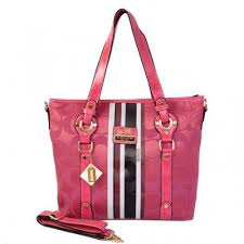 Coach Logo In Signature Medium Pink Totes BEU