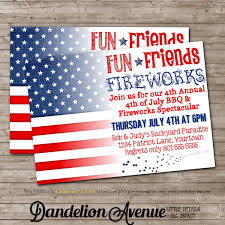 fourth of july bbq fireworks party invitation 2