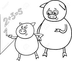 黒と白の漫画イラスト面白い豚動物キャラクターの塗り絵の黒板に数学の授業