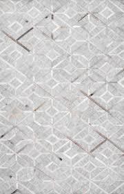 handmade modern cowhide geometric leather viscose area rugs gray
