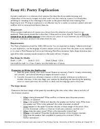 Examples Of Poetry Analysis Essays Poetic Essay Examples Poetry