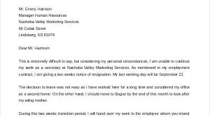 2 Week Notice Letter For Work Amazing Of Resignation Letter 2 Week Notice Two Weeks