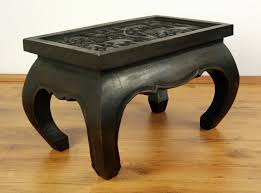 asian opium table coffee table elephant carving handmade