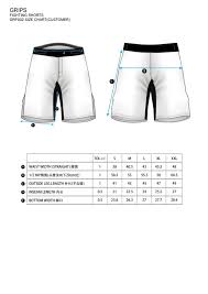 Grips Fight Shorts Size Guide Martial Art Shop