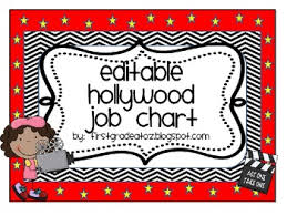 First Grade Job Chart Hollywood Themed Job Chart Editable