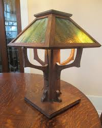 Mission Oak And Slag Glass Lamp Phil Taylor Antiques Ottumwaia